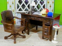 Renwal DESK & SWIVEL CHAIR Vintage Dollhouse Furniture Plastic Ideal Marx