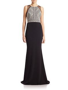 Badgley Mischka - Deco Embroidered Bodice Gown