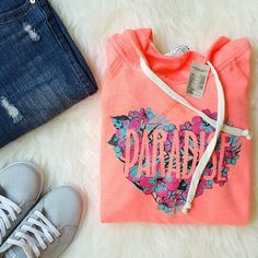 """{American Eagle Outfitters} Paradise Coral Hoodie -Neon coral """"Paradise"""" hoodie   -60% cotton, 40% polyester -Color is more like 2nd picture  -New; with tag   by @alinasher American Eagle Outfitters Sweaters"""