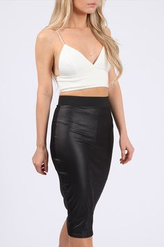 High Waist Midi Skirt Wet look Stretch Jersey Fabric Bodycon Fitting Elasticated Waiste Band Approximate Length: Bra crop top is listing seperately Bodycon Midi Skirt, Black Midi Skirt, Pencil Skirt Black, Midi Skirts, Pencil Skirts, Crop Top Bra, Body Con Skirt, Skirt Fashion, Sexy
