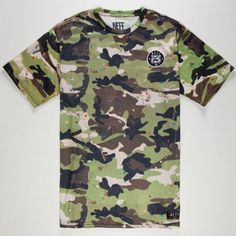 """Neff Ranger Camo tee. Allover confetti camouflage print with Neff wildcat patch on chest. """"Neff"""" printed across high back. Short sleeve. Crew neck. 100% polyester. Machine wash. Imported."""
