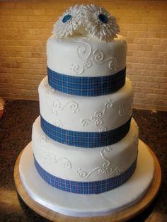 Tartan Ribbon and White Gerbera Wedding Cake