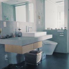 neru0414さんの、洗面所,コンクリート打ちっ放し,塩系インテリア,我が家の中で最も塩系なスペースです。,のお部屋写真