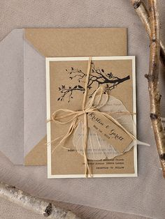 Rustic  Wedding Invitation, Recycling  Paper, Tree Wedding Invitation, Garden wedding invitation, Birds in love invitation