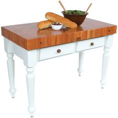 """John Boos Cherry Rustica: kitchen island with two drawers, 4"""" thick maple top. Serves as a butcher block."""
