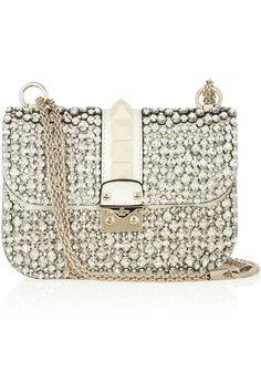 Valentino | Lock Glam cristal adornado bolso de cuero | NET-A-PORTER.COM