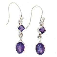 Purple Amethyst Faceted Dangle Earrings Sterling Silver Hook Gemstone Jewelry