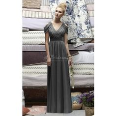 Gray Chiffon A-line V-neck Floor-length Bridesmaid Dresses(BD715)