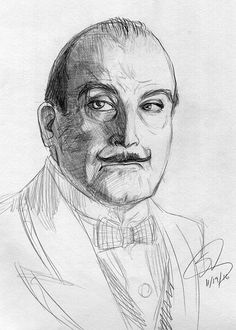 I love murder mysterious.  This is my quick sketch of David Suchet as Hercule Poirot.