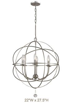"Solaris Silver Chandelier 22""W x 27.5""H (also other sizes) 