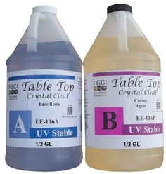 Epoxy Table Top Resin, 1:1, 1 Gallon Kit, Crystal Clear, UV Resistant, Parts A & B Included Fiberglass Coatings http://www.amazon.com/dp/B007GDUZAE/ref=cm_sw_r_pi_dp_m0ghub16F782G