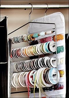 Ribbon Storage Ideas...these are great, love the hanger idea!