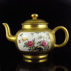 Excellent Chinese Gold Plated Famille Rose Porcelain Teapot w Qianlong Mark