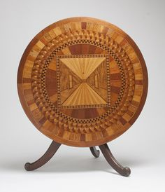 Circular centre table used as a firescreen, made by Kenneth McKenzie, c1900, various Australian timbers. Meroogal Collection, Historic Houses Trust of NSW [M86/237]. Photograph © Rob Little.
