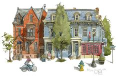 """My painting of typical buildings in Warren Street, Hudson, Upstate New York. The State and National Registers of historic places mentions that Hudson has """"The finest dictionary of American architecture in New York State. Cartoon Background, Urban Sketchers, New York Travel, Artist At Work, Illustration Art, Illustrations, New York City, Art Gallery, Hand Painted"""