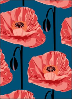Both modern and retro, paint-by-number -esque poppies - Click to see the actual VN164 - Poppies stencil design.