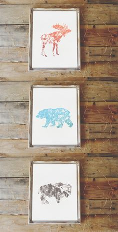 Spruce up your walls with this set of rustic animal prints. These would look perfect on a gallery wall, in a nursery, or kid's room.  via @MtnModernLife