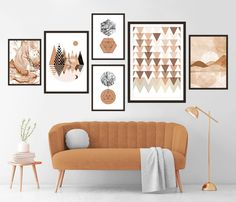 Gallery Wall Set of 6 Scandinavian Abstract Prints, Mid Century Modern Wall Art, Geometric Prints, Minimalist Terracotta Neutral Printables Modern Wall Art, Mid-century Modern, Minimalist Photos, Geometric Prints, Ikea Frames, Yellow Art, Mid Century Art, Landscape Prints, Terracotta