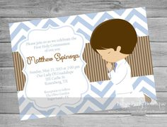 Boy First Communion Digital Invitation 0081 por LillysPartyBoutique Boys First Communion, Première Communion, Communion Favors, Baby Baptism, Christening, Ideas Bautizo, First Communion Invitations, Just Because Gifts, Ideas Para Fiestas
