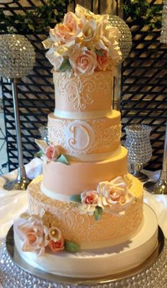 The Darla - Buttercream wedding cake with gum paste flowers