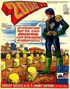 """Before you see the new """"Judge Dredd"""" (or Sly's version): """"2000 A.D."""" is a British comic book published every Monday. Only eight pence Earth money."""