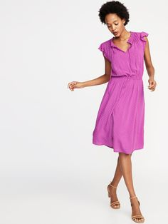 Waist-Defined Tie-Neck Dress for Women | Old Navy