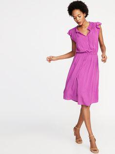 Waist-Defined Tie-Neck Dress for Women | Old Navy