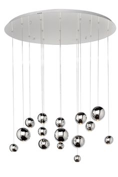 Balls of mirror like Polished Chrome are suspended from adjustable cables creating a lighting work of art. Each ball contains a high power LED which through the optical lens provides ample down lighting and is dimmable. Globe Pendant, Lantern Pendant, Pendant Lighting, Billiard Lights, Multi Light Pendant, Maxim Lighting, Hallway Lighting, Drum Chandelier, Chandeliers