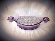 Viking Glass, Flower Frog, Vintage Dishes, Purple Glass, Dark Purple, Frogs, Vintage Flowers, Bricks, Flower Vases