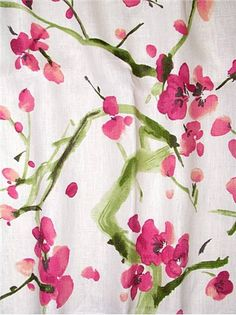 Blossom Festival Magenta - P. Beautiful multi purpose home décor fabric. Watercolor Fabric, Fabric Painting, Diy Painting, Floral Watercolor, Farmhouse Fabric, Linens And More, Drapery Fabric, Curtains, French Fabric