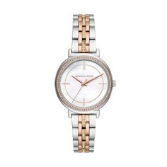 Michael Kors Women's Cinthia Quartz Watch with Stainless-Steel-Plated Strap at price: Michael Kors Women's Cinthia Quartz Watch with Stainless-Steel-Plated Stra Army Watches, Stainless Steel Plate, Vintage Watches, Quartz Watch, Bracelet Watch, Plating, Amazon, Stuff To Buy, Mineral