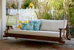 One Kings Lane - A Put-Together Porch - Savannah Bedswing, Rustic Oak.  This would look great under a big tree.