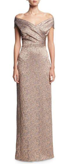 "Off-the-Shoulder Metallic Jacquard Evening Gown by Rickie Freeman for Teri Jon. Rickie Freeman for Teri Jon evening gown in metallic jacquard. Approx. 40""L down center back. Off-the-shoulder neckline. Crossover bodice. Cap sleeves. Exposed back zip. Column silhouette. Center back slit. Floor length hem. Polyester. L... #rickiefreemanforterijon #dresses #gowns"