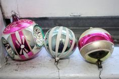 Vintage Handpainted German Ornaments, Christmas Bulbs, Holiday Decoration