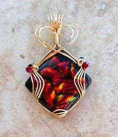 Red Copper Orange Wire Wrapped Dichroic Glass Pendant | jewelrybyjorgy - Jewelry on ArtFire