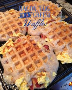 Crystal P Fitness and Food: Bacon Egg and Cheese Stuffed Waffles