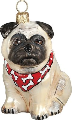 The Pet Set Fawn Pug with Bandana Glass Christmas Ornament - Handcrafted in Europe by Joy to the World Collectibles