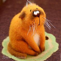Купить Не виноватый я... - кот, войлочные игрушки, кот из войлока, рыжий, интерьерная игрушка, коврик #feltedcat