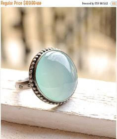 FLASH SALE Aqua Chalcedony Ring Handcrafted in Oxidized Silver, Cocktail Ring, Metalwork, Bezel Work, Light Blue Cabochon, Made to Order