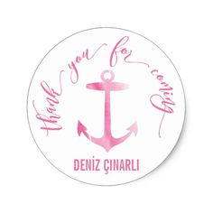 Nautical Watercolor Anchor Thank You Pink Classic Round Sticker