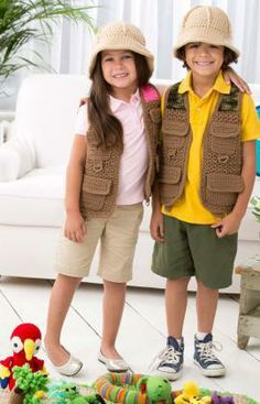 Safari Vest Free Crochet Pattern from Red Heart Yarns