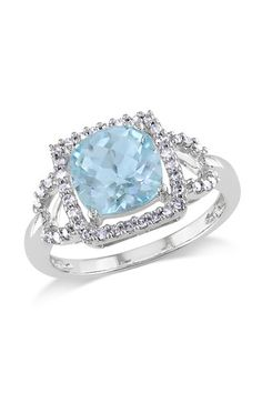 10K White Gold Blue Topaz & Diamond Ring