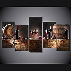 Unframed HD Printed Wine Barrels Canvas Prints Bochonki Grozdya Vinograd Painting Modern Art Living Room Decor Print Poster Picture (30x60cmx4pcs+30x80cm)