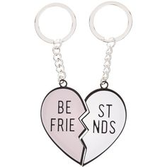 New Look 2 Pack Pink Best Friend Keyring (76 ARS) ❤ liked on Polyvore