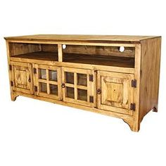 The Gregorio TV Stand features spacious bottom cabinets, two glass and two solid pine, to keep your living room organized.  The top cubby holes are ideal for your cable box and DVD player. Tall legs and iron hardware complete this solid-wood rustic piece.