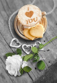 Image about heart in Coffee and Chocolate by Shorena Ratiani Good Morning Coffee Gif, Good Morning Love, Good Morning Flowers, Good Morning Wishes, Coffee Heart, I Love Coffee, Coffee Latte Art, Drinking Tea, Food And Drink