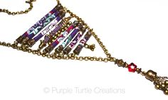 Ladder necklace with fabric, glass and velvet beads  |  purple, red, mint and bronze  |  adjustable by PurpleTurtleStore on Etsy https://www.etsy.com/au/listing/289874133/ladder-necklace-with-fabric-glass-and