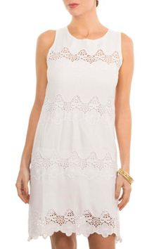 """White lace dress with a scalloped hemline cut out detail and floral motif banding.  Measures: 35"""" L  Wave Dress by Gretchen Scott. Clothing - Dresses - Knee Florida"""