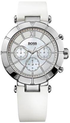 nice 1502314 Hugo Boss Women's Watch Chronograph Quartz Nacre Dial White Rubber Strap #watches #wristwatches