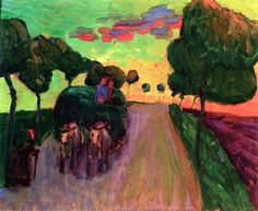 Gabriele Munter,a German expressionist painter, together with Wassily Kandinsky and Franz Marc, was a founding member of Der Blaue Reiter (The Blue Rider